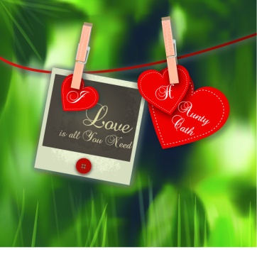 3 hearts on clothesline