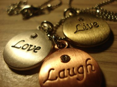 Love Love Laugh medallions