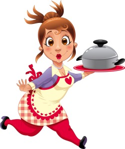 Cartoon chef holding a casserole