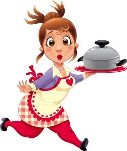Cartoon chef holding a casserole