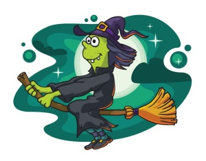 ugly witch crone on a broomstick