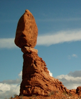 Long brown balancing rock formation