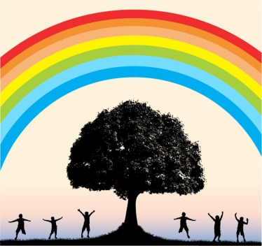 Happy people dancing under a rainbow around Tree of Life