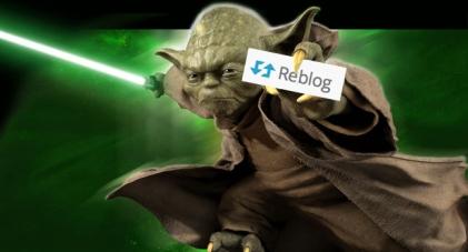 Master Yoda holding a Reblog Button