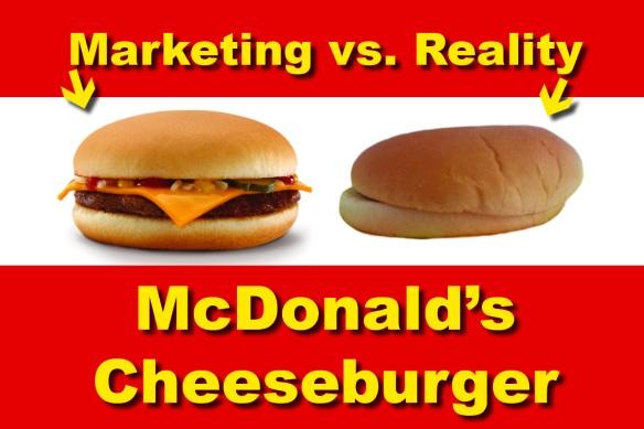photo of mcdonalds cheeseburgers marketing vs reality