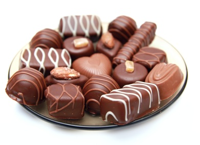 Plate full of delicious chocolates
