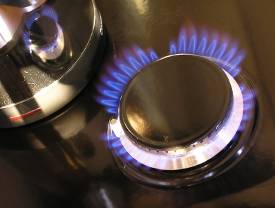 blue flame on gas hot plate